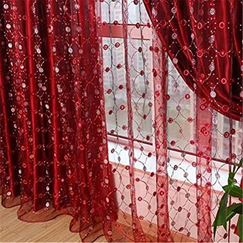 Bad Volant (tangbasi rot Tüll Voile Fenster Vorhang Stickerei Sheer Panels Volants Hochzeit Room Decor, Polyester, rot, 3m by 2.7m)