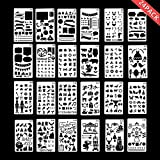 #10: Climberty Bullet Journal Stencil Various DIY Drawing Templates Plastic Planner Stencil 24 Pieces for Notebook,Diary
