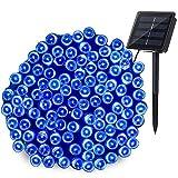 Qedertek Solar Lichterkette Blau 22m 200 LED Lichterkette Außen für Bäume, Terrasse, Balkon, Garten, Hof, Weihnachtsdeko