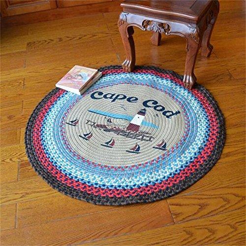 Weave Round Teppich Schlafzimmer Wohnzimmer Couchtisch Sofa Bedside Teppich Computer Stuhl Kissen Swivel Stuhl Korb Mat (größe : Diameter-100CM) ()