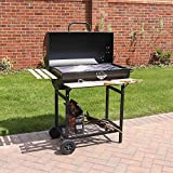 Wido Large Charcoal Smoker Barrel Bbq Trolley Utensils Barbecue Black Garden