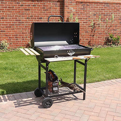 61MVvKPOIiL. SS500  - Wido Large Charcoal Smoker Barrel Bbq Trolley Utensils Barbecue Black Garden