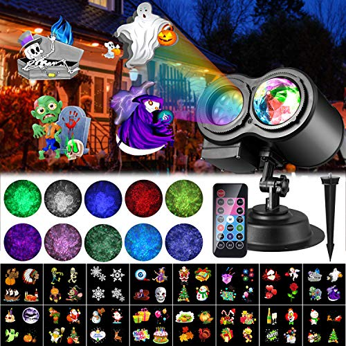 Luces de Proyector de Navidad de Halloween, ALED LIGHT Impermeable Exterior Decoración Luz de Proyector con Control Remoto y 16 Diapositivas de Patrón para Fiesta, Navidad, Festivos