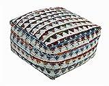Homescapes Chindi Sitzwürfel Fußhocker Quadratisch Ethno Look Bunt Creme 60 x 60 x 30 cm