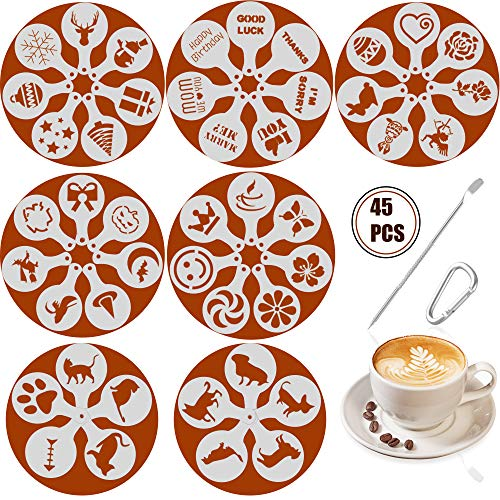 SOSMAR 45 Muster Cappuccino Kaffee Dekorieren Schablonen - für Liebe/Weihnachten/Ostern/Halloween/Hunde/Katze/Kurze Wünsche Sprüche - Schaum Latte Art Barista Dekoration Vorlage (Halloween Kaffee Schablonen)