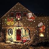 LED Projektionslampe Effektlicht IP65 Gartenlicht Weihnachtsbeleuchtung weihnachten projektor 12 Verschiedene Muster Folien/Diashow Strahler für Halloween Karneval Weihnachten Innen & Außen Wand Beleuchtung &Gartenleuchte
