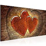 Bilder Herzen Holz Wandbild 100 x 40 cm Vlies - Leinwand Bild XXL Format Wandbilder Wohnzimmer Wohnung Deko Kunstdrucke Braun 1 Teilig - MADE IN GERMANY - Fertig zum Aufhängen 104112a