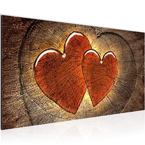 Bilder Herzen Holz Wandbild 100 x 40 cm Vlies - Leinwand Bild XXL Format Wandbilder Wohnzimmer Wohnung Deko Kunstdrucke Braun 1 Teilig - MADE IN GERMANY - Fertig zum Aufhängen 104112a -