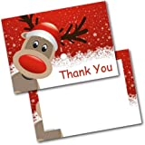 Doodlecards Pack of 20 Christmas Thank You Thankyou Red Rudolph Postcards Cards With Envelopes