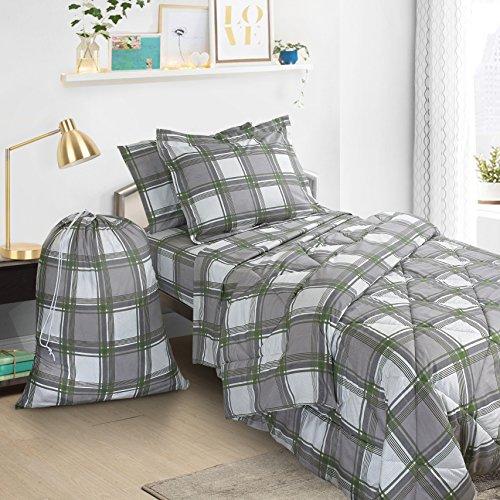 Clara Clark 6Stück Bed in a Bag Bettwäsche Tröster Set, Twin/X-Large, Green/Gray Plaid, Twin/XL -