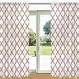ALAZA Rote und weiße Plaid-Gingham-Karierte Printed Sheer Fenster und Tür-Vorhang 2 Panels 55