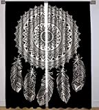 """""""Handicraft-Palace"""" Cotton Black Dream Catcher Printed Full Window Curtain Wall Tapestry Drapes Curtain Valances Window Treatments Curtain"""