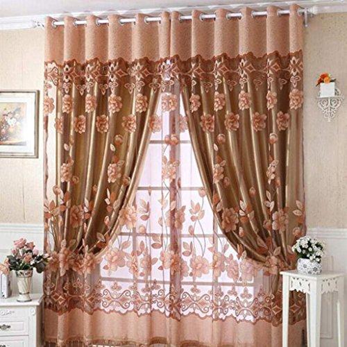 Bovake lusso con foro pendenti perline floreale tenda finestra stanza tenda sciarpa (caffè)