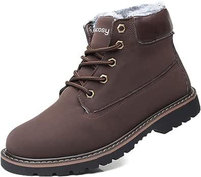 gracosy Stivali da Uomo Invernali, Scarpe da Neve Pelle più Velluto Boots Morbido di Piatto Calzature Sneaker Impermeabili Natale Regalo Nero