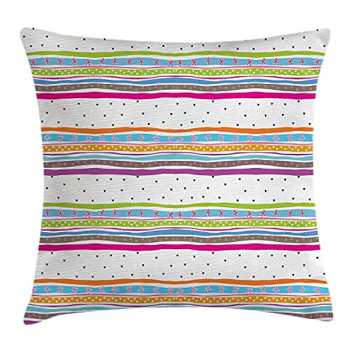 Striped Throw Pillow Cushion Cover, Abstract Wavy Stripes Polkadots Ribbons Bows and Hearts Girly Patterned Artwork, Decorative Square Accent Pillow Case, 18 X 18 Inches, Multicolor (Dot Bow Polka Pattern)