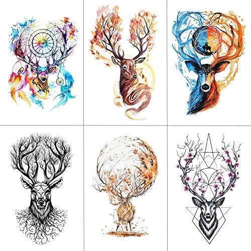 Temporäre Tattoos Schriftzug Aquarell Hirsch Temporäre Gefälschte Tattoo Kunst Aufkleber Tier Wasserdicht Frauen Männer Hand Tattoo Hot Design 9,8X6 Cm -