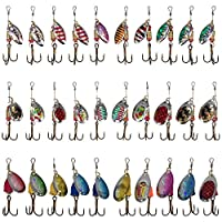 JT-Amigo 30pcs Fishing Spinners Lures Baits for Trout Salmon Bass