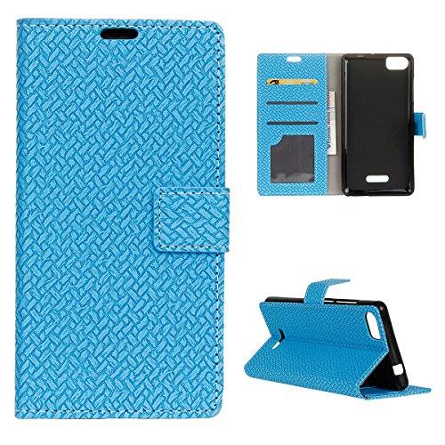 Wiko Fever Special Edition Hülle, CaseFirst PU Lederhülle Klapp Stoßfest Prämie Handyhülle Leather Wallet Case Brieftasche Hülle Schutz Handy Schale mit Ständer & Card Slots (Blau)