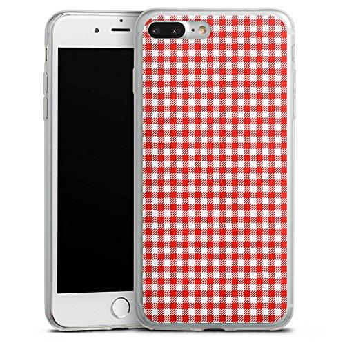 Apple iPhone 8 Plus Slim Case Silikon Hülle Schutzhülle Karo Rot Muster Silikon Slim Case transparent