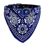 Ducomi Verstellbares Hundehalsband mit Halstuch, lustiges Accessoire für Hunde und Katzen, Größe XL, Blau