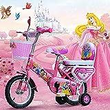 BXWQPP Dessin Animé Bikes MTB Vélo Enfant pour Garcons et Filles 3-6 Ans Bicyclette Enfant 12 14 Pouces avec Freins Roues Stabilisatrices Rouler en Vélo Faire du Vélo Panier Tressé,14inches