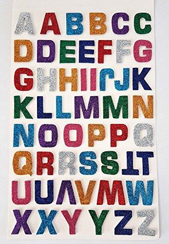 52 Stück selbstklebende, große, bunte, glitzernde, Buchstaben-Aufkleber mit 3D-Effekt von Glitterati (Buchstaben Styropor Groß)