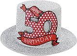 Muñeco de peluche sombrero con Clip 50 para fiesta de diversión Hutzylinder en Plata 50 Happy Birthday 12 x 11 x 6 cm