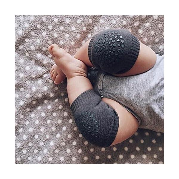 GOPOWD 3 Pares de Rodillera para Bebé Niños Niñas con Antideslizante Goma para 6 a 24 Meses 3
