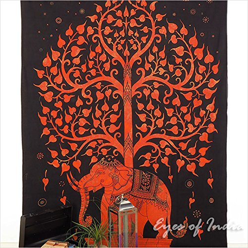 Eyes of India - Einzelbett Indisch Hippie Mandala Elefant Baum Leben Wandteppich Picknick Unkonventionell Boho - Orange #1, 54 X 84 in. (137 X 213 cm)