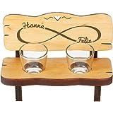 Casa Vivente Panchina da Shot in Legno con 2 Bicchierini da Liquore in Vetro, Incisione Simbolo Infinito Personalizzata con N