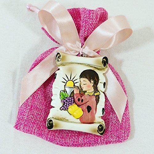 20 sacchetti bomboniere portaconfetti comunione femmina con pendente pergamena sacra kkk .