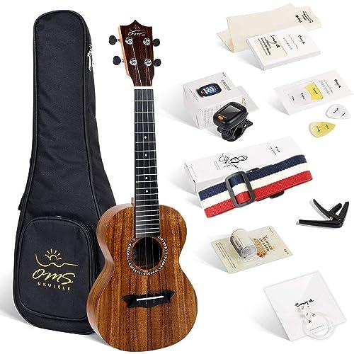 Enya ukulele Concerto OMS-04 23 pollici con corpo in KOA laminato, borsa imbottita, accordatore, tracolla, capotasto, corde di scorta, plettri, panno per la pulizia, fingershaker