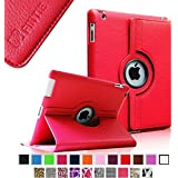 Fintie Apple iPad 2 / iPad 3 / iPad 4 Retina Hülle Case Schutzhülle Etui Tasche - 360 Grad Rotierend Stand Smart Cover mit Auto Schlaf / Wach Funktion, Rot