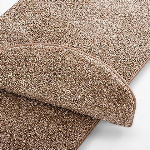 Teppich Läufer uni beige | Qualitätsprodukt aus Deutschland | GUT Siegel | kombinierbar mit Stufenmatten | 19 Breiten und 18 Längen (300 x 150cm)