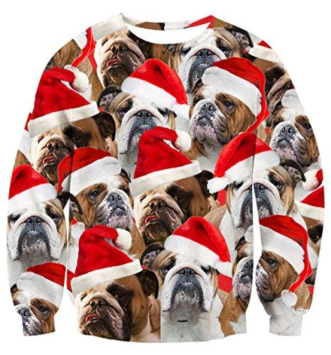 Uideazone Mädchen Jungen Printed Weihnachten Bulldogge Shirt Lustig Grafik Sweater Jumper,Asia M= EU S