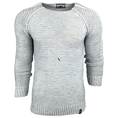 Subliminal Mode - Pull Over Fin Col arrondi Homme Tricot SB-17007 Petite Maille Blanc