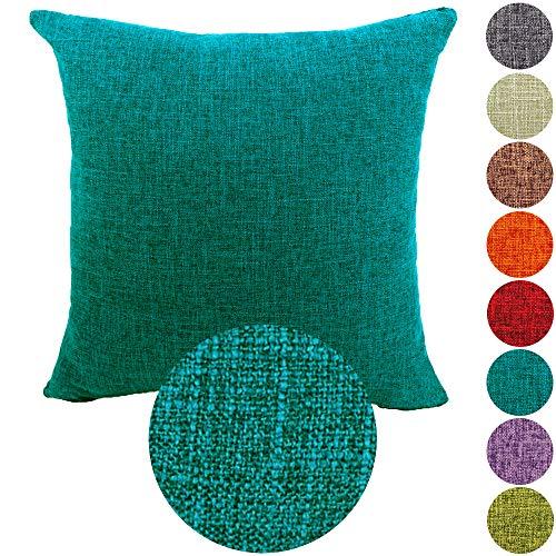 Kamixin federe per cuscini tinta unita lino copricuscino moda vintage quadrato federa cuscino coperture decorativo per casa divano sedia stanza letto copricuscini e federe blu pavone 45x45cm