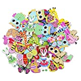Profusion Circle 50pcs Cartoon Animals 2 Hole Wooden Buttons DIY Sewing Craft Scrapbooking Mixed Color