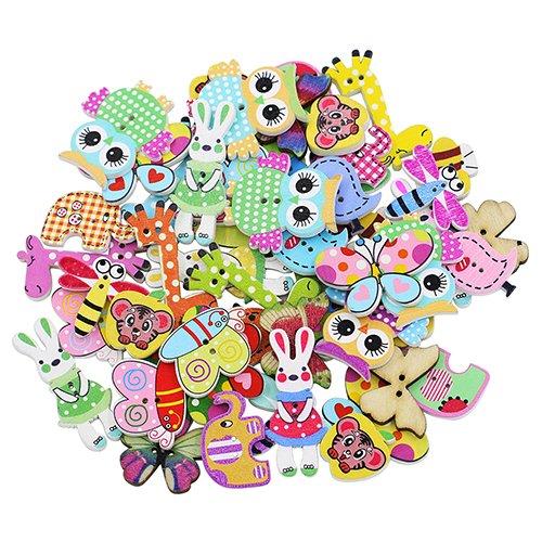 KaariFirefly 50 Stück gemischte Cartoon-Tier-Knöpfe aus Holz, fantastisch für alle Bastelarbeiten, Collage, Stricken, Häkeln, Socken, Puppen, Zählen, 2 Löcher, Holz, Multi -
