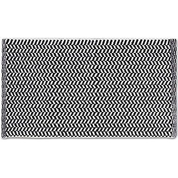 Relaxdays Teppich Läufer Flur 80x200 Cm, Baumwolle, Handarbeit, Design  Küchenläufer Kurzflor, Fußbodenheizung, Schwarz Weiß Fußbodenheizung Schwarz  Weiß ...
