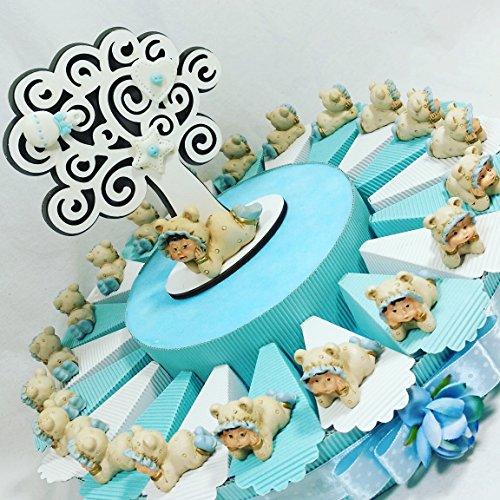 Bomboniera battesimo nascita primo compleanno bambino confezionata su torta bomboniere portaconfetti (torta bimbo sdraiato con albero della vita centrale)