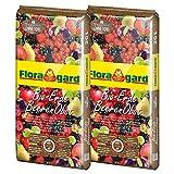 Floragard Bio-Erde BeerenObst ohne Torf 2x20 L • Spezialerde mit Kompost • für Erdbeeren, Brombeeren, Stachelbeeren, Säulenobst • mit Bio-Dünger • aus natürlichen Rohstoffen • torffrei • 40 L