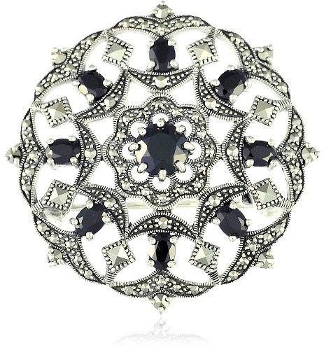 (Esse Markasit-Brosche Sterlingsilber (925) Schwarzer Markasit rundes Design 3,5cm)