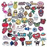 Qilicz toppa–Set 50pezzi patch toppe patch Appliques sticker DIY vestiti vestiti cerotti adesivi per t-shirt jeans tasche ricamo per cucire o termoadesivo