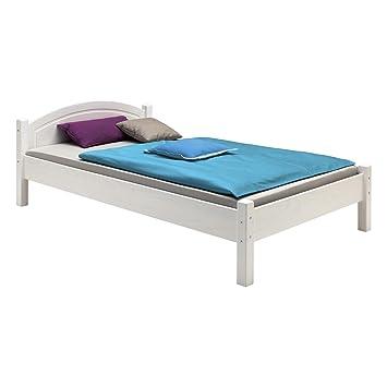 Einzelbett weiß 100x200  Holzbett Einzelbett Doppelbett MARIE Bett 100 x 200 cm (B x L ...