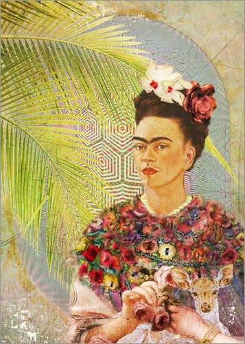 Posterlounge Leinwandbild 70 x 100 cm: Frida Kahlo mit Rehkitz von Moon Berry Prints - fertiges Wandbild, Bild auf Keilrahmen, Fertigbild auf echter Leinwand, Leinwanddruck