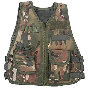 Gilet Tactique Enfant Veste Camouflage de Combat Gilet de Protection Entraînement Elite Nerf Jeux CS Multipoches