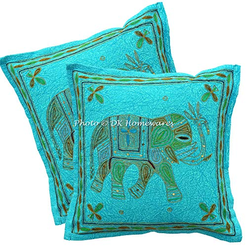 DK Homewares Indio 16 x 16 Pulgadas Bebé Turquesa Funda De Almohada Hilo de Oro Bordado Decoración De Habitaciones para Niños Elefante Fundas De Almohada (40 x 40 ; Turquesa)-Conjunto de 2 Piezas