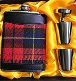 Shot Flask Gift set con rosso a quadretti tipo 198,4gram Scozia panno avvolto fiaschetta in acciaio INOX 304con 1bicchierini e 2pallone imbuto