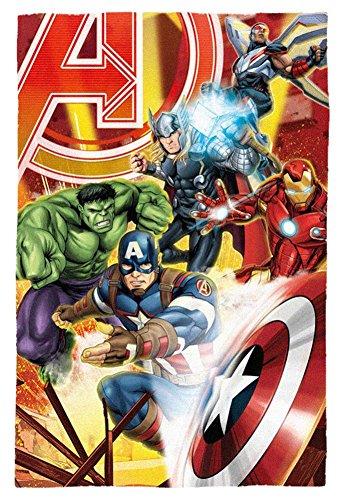 Marvel coperta in pile con personaggi avengers, poliestere, multicolore, singola